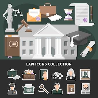 Wet pictogrammen met set van geïsoleerde emoji-stijl justitie iconen