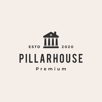 Wet pijler huis vintage logo pictogram illustratie