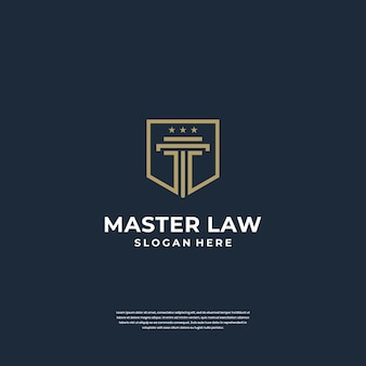 Wet van justitie logo ontwerp pijler met schild symbool. minimalistisch logo met lijnkunststijl