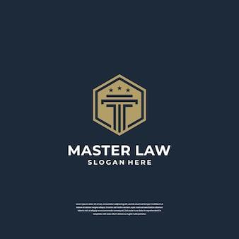 Wet van justitie logo ontwerp pijler met schild symbool