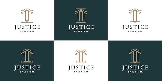 Wet yer logo ontwerp set collecties gerechtigheid voor advocaat