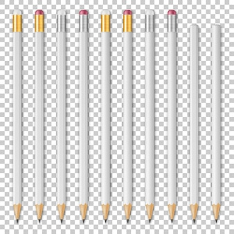 Wete realistische houten potlood icon set geïsoleerde ontwerp sjabloon mockup