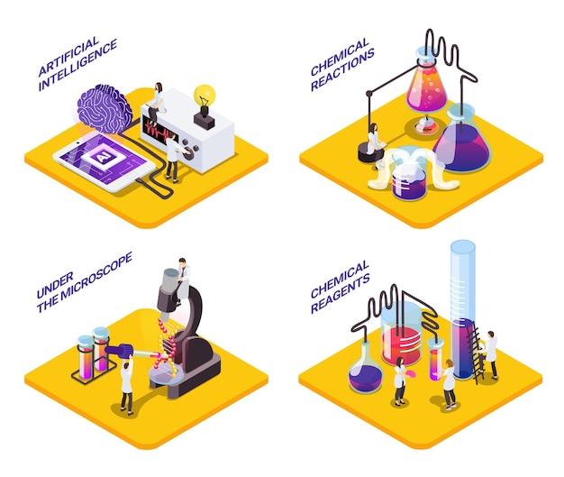 Wetenschap 4x1 isometrische set platforms met kleine karakters van wetenschappers met reageerbuisjes en tekst
