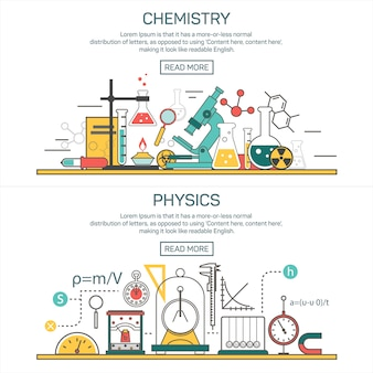 Wetenschap banner vectorconcepten in lijnstijl. chemie en natuurkunde ontwerpelementen. laboratoriumwerkruimte en wetenschappelijke apparatuur.