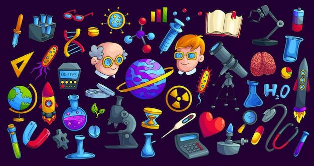 Wetenschap bestudeert cartoon vector stickers set. laboratoriumapparatuur, onderzoek objecten icoon collectie. patchbundel chemie, biologie, astronomie en natuurkunde. terug naar schoolillustraties
