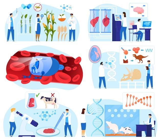 Wetenschap biotechnologie vector illustratie set, platte kleine wetenschapper stripfiguren werken, onderzoek dna-gen geïsoleerd op wit