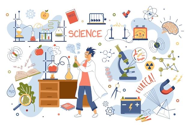 Wetenschap concept geïsoleerde elementen set