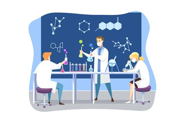 Wetenschap, coronavirus, chemie, medisch vaccinconcept. team van mannelijke en vrouwelijke artsen in medisch gezichtsmasker maakt vaccin van covid19. wetenschappelijke test en academisch onderzoek 2019ncov-infectie.