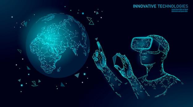 Wetenschap ecologie planeet aarde concept. vr-headset holografische projectie virtual reality-bril. futuristisch onderzoek redt natuur terraforming analyse architect data analyse illustratie