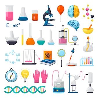 Wetenschap en laboratoriumapparatuur iconen set van illustraties. kolven, bekers, microscoop, chemische formules van dna, hersenen en wetenschappelijke onderzoeksexperimenten benodigdheden. wetenschappers objecten.