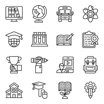 Wetenschap en onderwijs lijn iconen pack