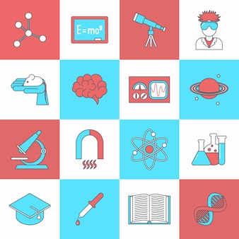 Wetenschap en onderzoekpictogram vlak plaatste met de hoeden geïsoleerde vectorillustratie van de dnaafstuderen hoed