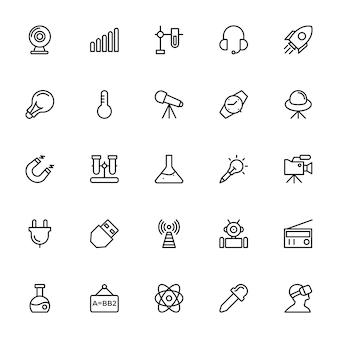Wetenschap en technologie lijn pictogrammen