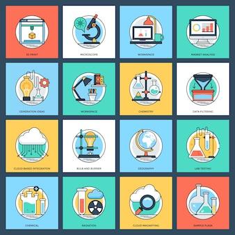 Wetenschap en technologie platte vector iconen