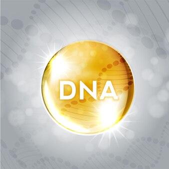 Wetenschap glanzende gele ballen met dna moleculaire structuur. vector illustratie.