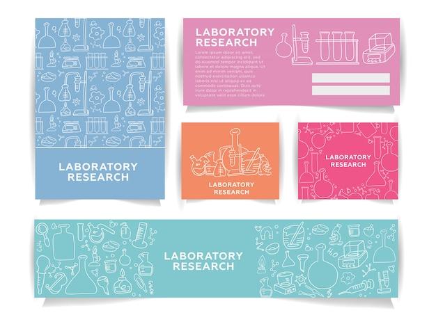 Wetenschap informatiekaarten set laboratoriumsjabloon. chemie infographic concept achtergrond.