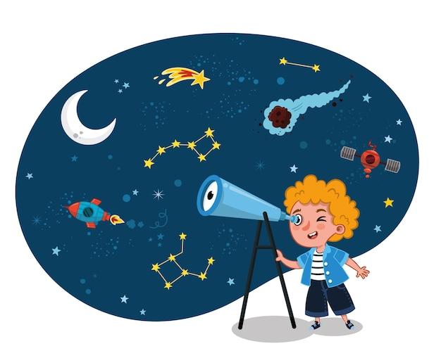 Wetenschap liefhebbend kind observeert ruimte op zijn telescoop vectorillustratie