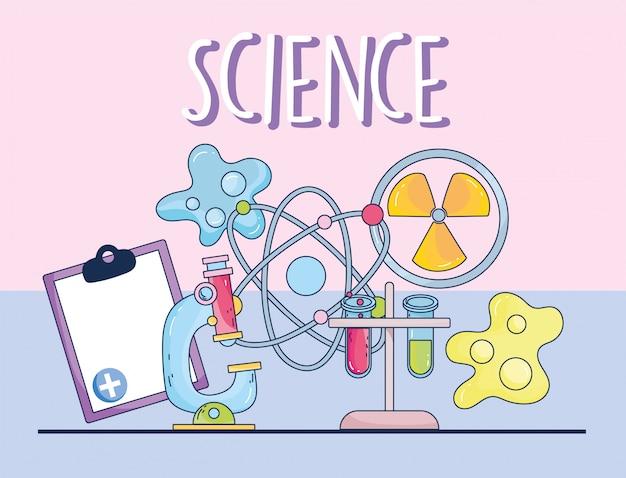 Wetenschap microscoop geneeskunde atoom molecuul klembord en bacteriën onderzoekslaboratorium