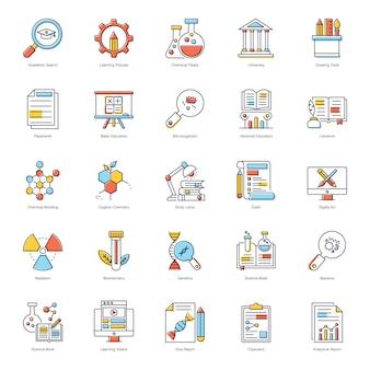 Wetenschap onderwijs plat pictogrammen pack
