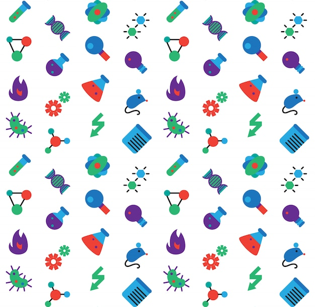 Wetenschap pictogrammen naadloze patroon. laboratorium biologie symbolen.