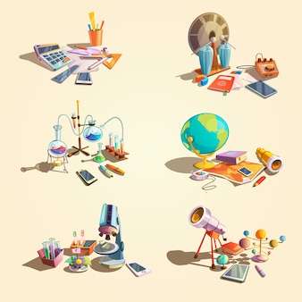 Wetenschap retro concept dat met de voorwerpen van het beeldverhaalonderwijs wordt geplaatst