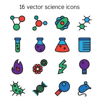Wetenschap stel pictogrammen