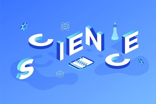 Wetenschap woord concept in isometrisch