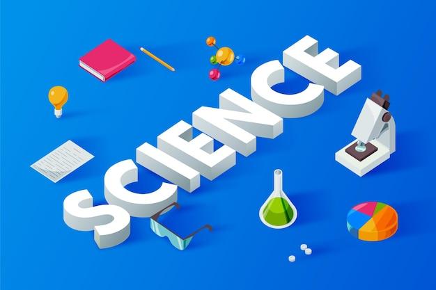 Wetenschap woord concept in isometrische stijl
