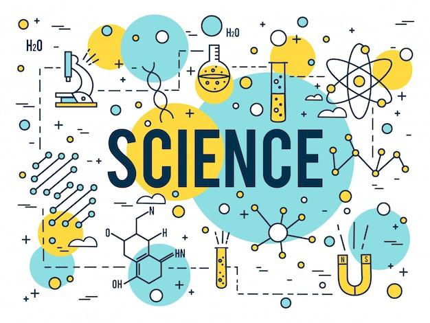 Wetenschap woord. onderzoek overzicht pictogrammen. biotechnologie en medische elementen. lineair dna-concept kleine lijn