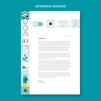 Wetenschappelijk briefpapier met plat ontwerp