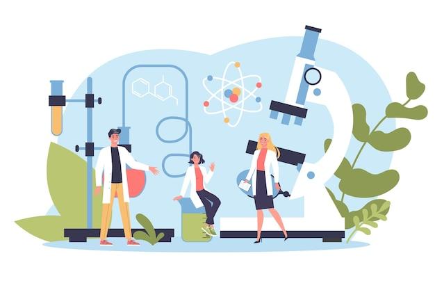 Wetenschappelijk concept. idee van onderwijs en innovatie. studeer biologie, scheikunde, geneeskunde en andere vakken aan de universiteit.