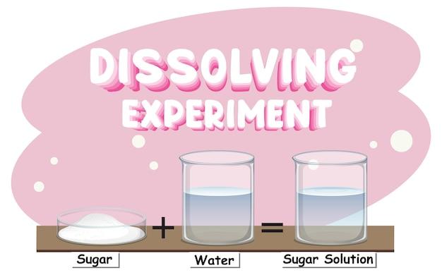Wetenschappelijk experiment met suiker in water oplossen