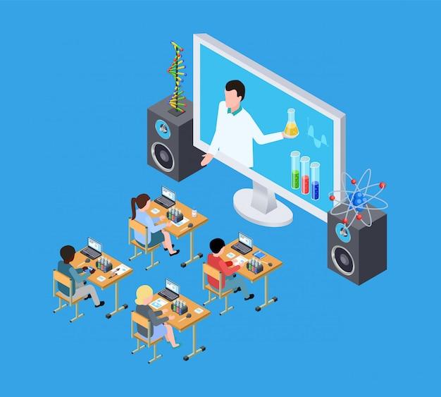 Wetenschappelijk experiment voor kinderen. isometrische scheikunde les voor kinderen. online onderwijs vector concept