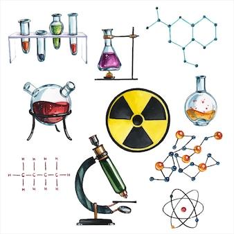 Wetenschappelijk laboratorium attributen hand getrokken aquarel illustraties set. formules en reagentia, uitrusting en materialen pakket lab tools aquarel schilderijen collectie
