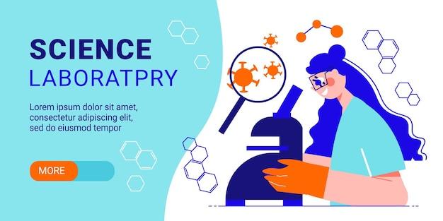 Wetenschappelijk laboratorium horizontale banner met schattige jonge vrouwelijke specialist op zoek door microscoop platte vectorillustratie