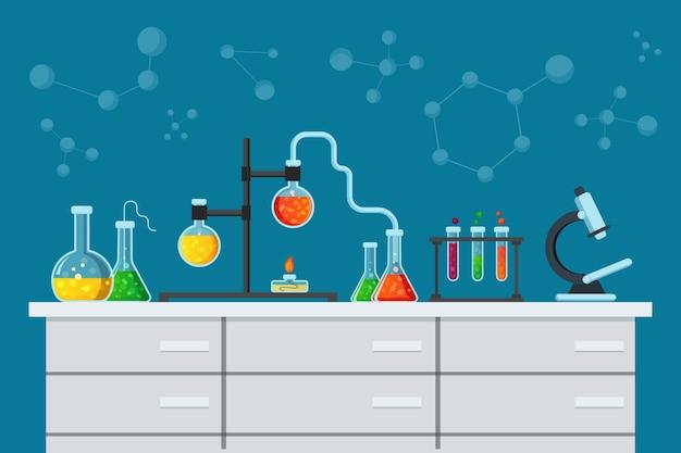 Wetenschappelijk laboratorium in vlakke stijl