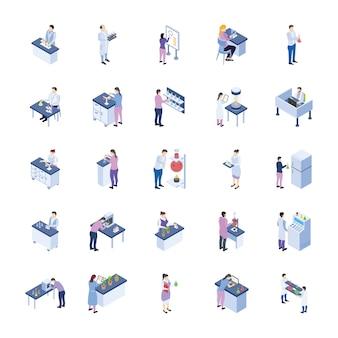Wetenschappelijk laboratorium isometrische pictogrammen pack