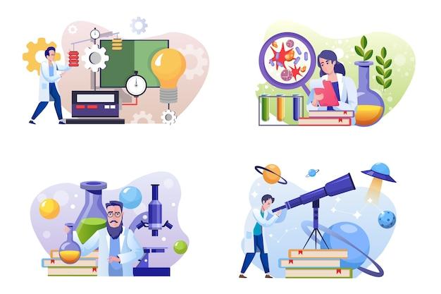 Wetenschappelijk laboratorium platte illustraties set