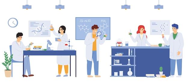 Wetenschappelijk laboratorium. wetenschappelijk onderzoekslaboratoriumarbeiders, mannelijke en vrouwelijke onderzoekers die witte jassen vectorillustratie dragen. wetenschappelijk laboratoriumteam