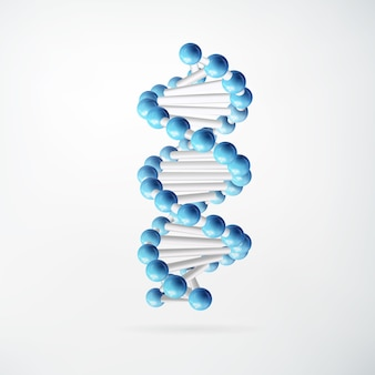 Wetenschappelijk moleculair abstract concept met blauwe verbonden atomen in realistische stijl op geïsoleerd wit
