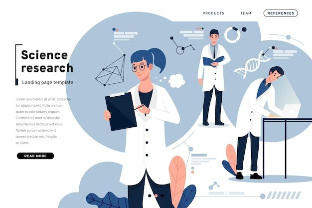 Wetenschappelijk onderzoek en bestemmingspagina voor mensen