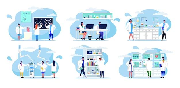 Wetenschappelijk onderzoek in laboratorium, vectorillustratie. man vrouw mensen karakter maken wetenschappelijk experiment, medische test met microscoop, set.