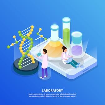 Wetenschappelijk onderzoek isometrische gloed achtergrond met afbeeldingen van dna-molecuul en reageerbuizen met kleurrijke vloeistoffen