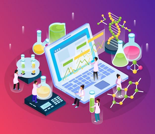 Wetenschappelijk onderzoek isometrische gloed samenstelling met kleine personages en verschillende laboratorium spullen met laptopcomputer