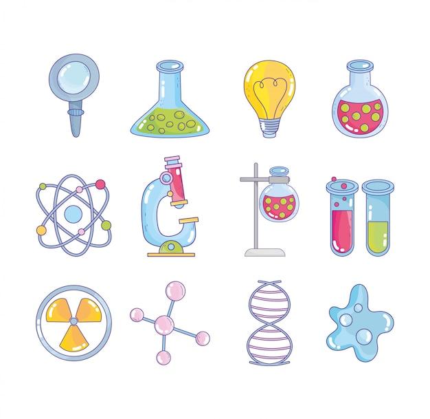 Wetenschappelijk onderzoek laboratorium vergrootglas kolf atoom molecuul dna genetische nucleaire bacteriën pictogrammen