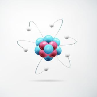 Wetenschappelijk realistisch abstract concept met kleurrijk model van atoom op geïsoleerd licht