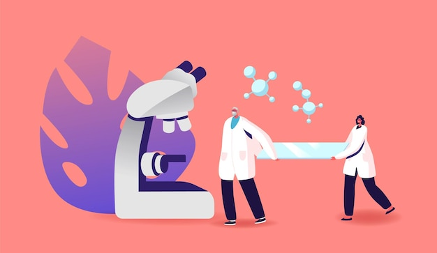 Wetenschappelijk werk, medische analyse, farmaceutische geneeskunde laboratoriumonderzoek illustratie