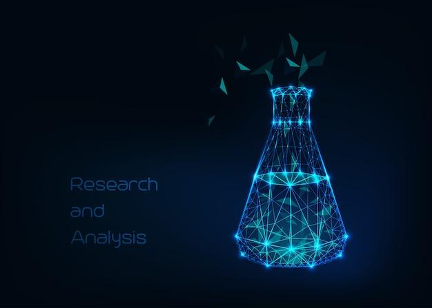 Wetenschappelijke achtergrond met laag poly draadframe bekerglas