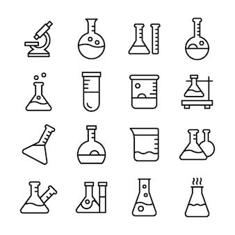 Wetenschappelijke apparatuur line vectors pack