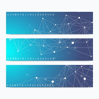 Wetenschappelijke banners. geometrische abstracte presentatie. medisch, wetenschap, technologie, chemie achtergrond molecuul en communicatie. cybernetische stippen. lijnen plexus.